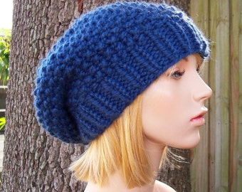 Knit Hat Blue Womens Hat Slouchy Beanie - Seed Beret Hat in Denim Blue Knit Hat - Blue Hat Blue Beret Blue Beanie Womens Accessories