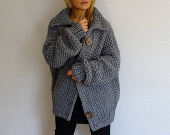 knit cardigan, knit coat, knit jacket, bulky cardigan, bulky, chunky, wool cardigan, gray, hand knit, oversized, merino, wool, made to order