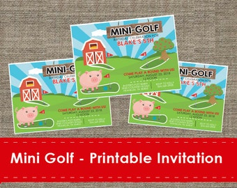Mini Golf Invitation - Printable - DIY - The Studio Barn