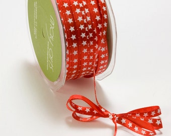 Red Satin Ribbon with White Stars (5 yards) . 1/4 Inch