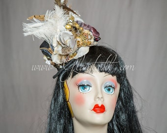 Ready to ship steampunk vintage Feather Burlesque detailed Mini Top Hat with Black and gold accents with red flowers and ostrich feathers,