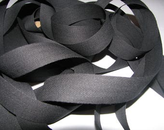 Ribbon by the yard black cotton twill