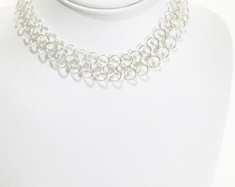 Chainmail  Necklace  Silver Necklace  Chainmail Jewelry Gift For Her Chain Necklace  Chainmail Choker  Choker