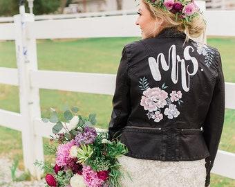 Custom Wedding Jacket, Bridal Jacket, Wedding Leather Jacket, Last Name Wedding Jacket, Just Married Jacket, Hand Painted Wedding Jacket