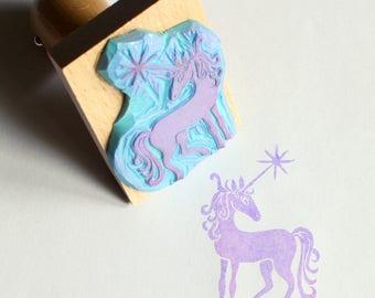Handcarved unicorn stamp