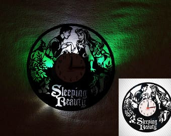 Vinyl clock Sleeping Beauty, Kids clock, Vinyl record Wall clock, LED Wall clock, Disney, Prince Philip and Briar Rose, Horologe Disney