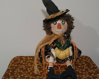 22' doll in chair, Holloween witch Witch doll Raggedy Ann Pimitive witch doll