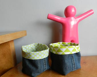 Set of 2 storage baskets / planters / reversible recycled denim pockets