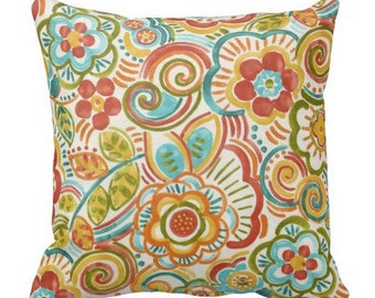 floral pillow covers, outdoor floral pillows, orange outdoor pillows, outdoor pillow covers, outdoor throw pillows, outdoor couch pillows