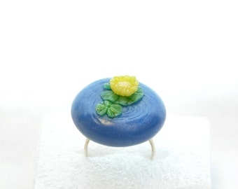 Lily Pond Polymer Clay Adjustable Ring Japanese Garden Statement Ring Nature Inspired Unique Gift