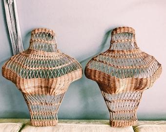 Vintage Rattan Busts / Woven Hanging Decorative Female Torso / Boho Bust Decor