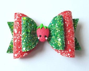 Fun fruits strawberry glitter hair bow - red and green fruit hair accessory - summer hair clip