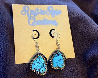 Turquoise Dangle Earrings Bling Gold Silver Gems