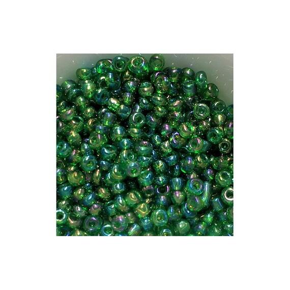 11/0 Transparent Grass Green AB Seed Beads 5gm