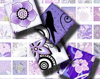 Shades of Purple (1) Digital Collage Sheet - 56 different Squares 1x1 or 0.875 or scrabble - Buy 3 Get 1 Extra Free