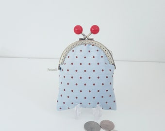 Small purse / coin purse / change purse / clasp purse / kiss lock clasp / polka dot print / spot / on trend / gifts for her