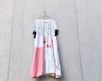 Summer Dress, Ladies Tunic, Cat, Bird, Upcycled Clothing, Tshirt Dress, Spring Dress, Plus Size Dress, Floral, Tunic, CreoleSha