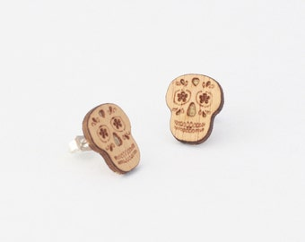 Sugar skull earrings, wooden stud earrings, skull stud earrings, laser cut jewellery, laser cut earrings, day of the dead, wooden jewelry