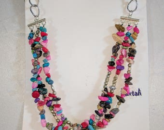 Rainbow Semi-Precious Stone and Silver Beads Beaded Multi Strand Necklace with Silver Chain, Opera Length