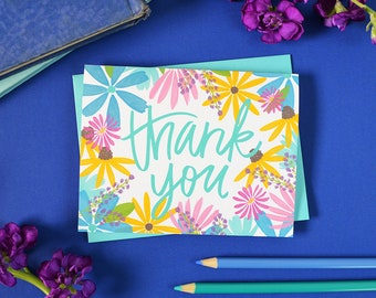 Thank you, Watercolor Flowers, Thank you card, Floral, Flowers, Garden, Spring, Illustration, Notecards, Greeting Card, colorful, bright