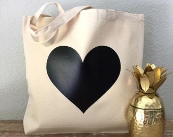 Black Heart Canvas Tote Bag - purse, beach bag, grocery bag or bridesmaids gift bag