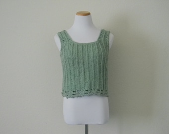 FREE usa SHIPPING Vintage ladies cotton knit top sweater tank knitted hipster chic cropped crop top