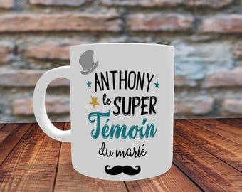 Cadeau témoin- Mug personnalisable le super témoin du marié - Impression Recto/Verso,mug personnalisé,mug témoin,tasse cadeau témoin,