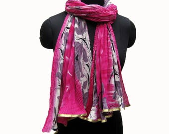 Multicolored scarf/ fashion scarf/ gift scarf/ daily wear scarf/ trendy scarf/ magenta scarf/ gift ideas/ for her.