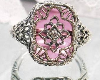 New Custom Sterling Filigree Art Deco Rose Glass Ring - Antique Style Sterling Replica Rose Sunray Glass Ring - Pink Camphor Glass Ring