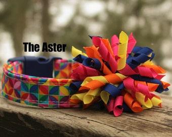 Rainbow Dog Collar, Summer Dog Collar, Geometric Dog Collar,  Bold Dog Collar, Dog Collar Bow, Yellow Dog Collar, Dog Collar for Girl