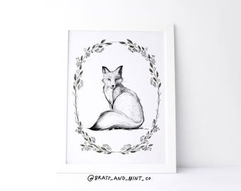 Pippa the Fox (Holiday version with floral wreath) 8x10