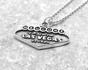 Las Vegas Necklace, Las Vegas Jewelry, Nevada Necklace, Las Vegas Pendant, Charm Necklace, Sterling Silver Jewelry, Vegas Sign, Las Vegas