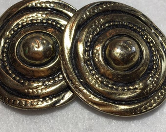 Vintage Gold and Black Heavy Metal Bluette Made in France Shoe Clips ~ Round Swirl Beaded Domed Center ~ Signed ~ 57g