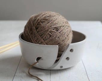 Yarn Bowl - Pottery Wool Holder - Chalky White - Handmade Stoneware Yarn Caddie - Ready to Ship