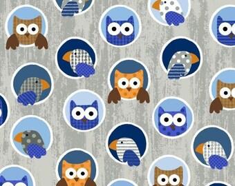 Noah's Story By Swizzle Stick Studio, Grey Blue Owls, Studio E, cotton quilting fabric - HALF YARD