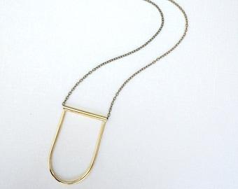Skinny Arch Necklace ~ Long Minimal Gold Brass Half Circle Necklace ~ Modern Layering Necklace