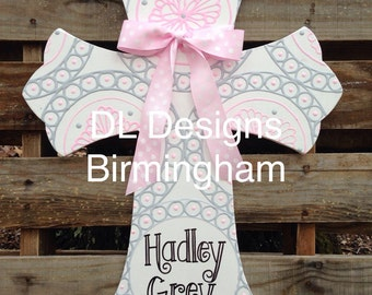 Custom colors Personalized girls nursery, shower, or hospital door cross pink and gray