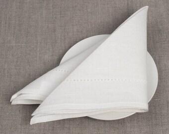 White Linen 4 Napkins, Linen Napkins, Wedding Linen Napkins, Table Decoration, Dining Table Napkins, Christmas Gift