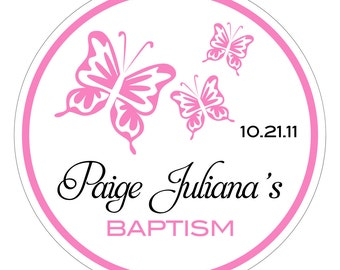 3 Butterflies . Personalized Baptism or Christening Stickers or Tags