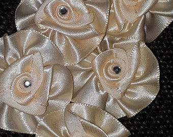 Set of 5 rosettes boutonniere flower satin champagne color rhinestone 40 mm tie pin
