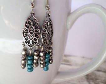 Charm Earrings, Teal Earrings, Gray Earrings, Teal Charm Earrings, Nickel Free Earrings, Gray Dangle Earrings, Teal Dangle Earrings