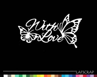 Scrapbooking scrap with butterfly cutout love marriage wedding love cut paper embellishment die cut birth