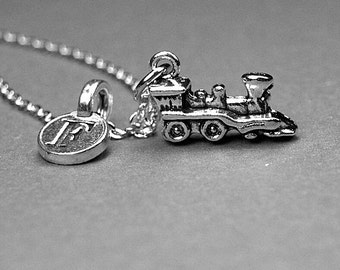 Steam train necklace, train necklace, train charm, train jewelry, personalized necklace, initial necklace, initial charm, monogram letter