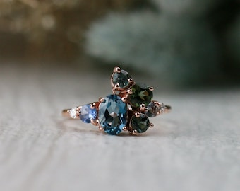 Natural Teal Oceanic Blue Gemstone Cluster Ring   Solid 14K Gold   Polished Finish   Fine Jewelry   Free Shipping