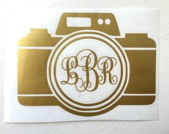 Photographer Monogram Camera Yeti Decal, Lilly P Yeti, Camera Monogram Vinyl Decal Sticker, Photography, Yeti, RTIC Decals