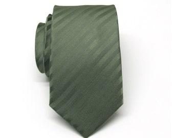 Mens Tie. Skinny Tie. Olive Green Stripes Skinny Necktie