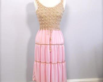 Vintage Pink and Crochet Sun Dress sm or med - on sale