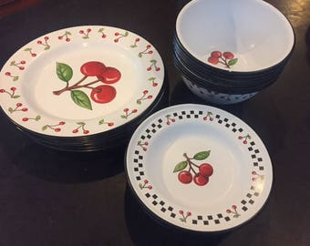 Mary Engelbreit enamelware set checkers and cherries retired pattern 8 dinner plates, salad plates and bowls