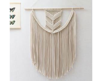 "Large Macrame Wall Hanging - Macrame Curtains - Macrame Wall Art - Macrame Patterns - Wall Tapestry - Dipdyed Tapestry - Natural - ""EVA"""