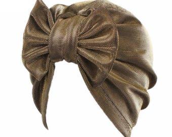 Gold Glittered Bow tie Hat Turban, Stretch Cap Beanie Hat, Stretch Head Wrap